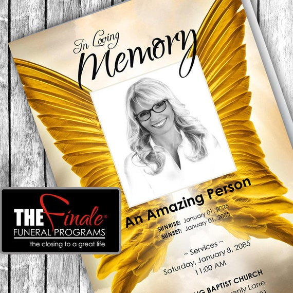 GOLDEN WINGS ... (printable funeral program template) Microsoft Word Template