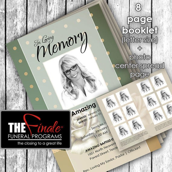 8 page booklet CLASSIC SAGE ... (printable funeral program template) + photo center-spread page