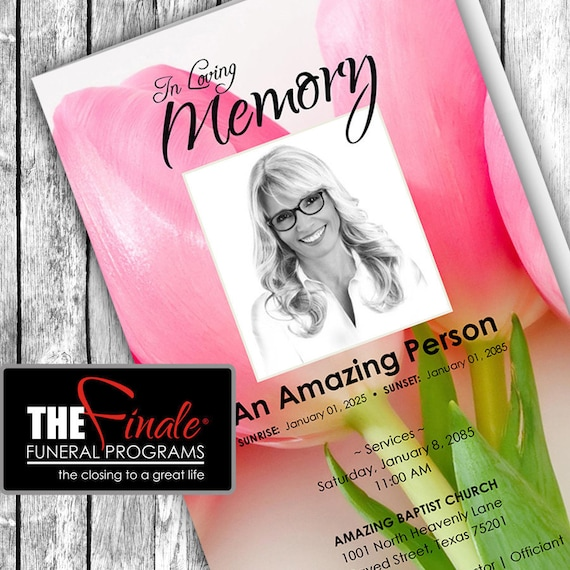 SOFT PINK TULIPS ... (printable funeral program template)