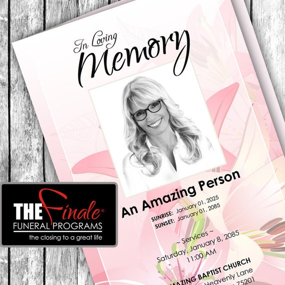 FLORALLY PINK ... (printable funeral program template) Microsoft Word Document