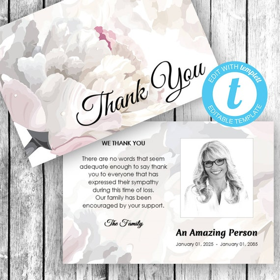 Thank You Card (4x6) ... (soft floral fragrance) EDIT Directly in your Browser, No Software Needed, Quick and Easy to Edit