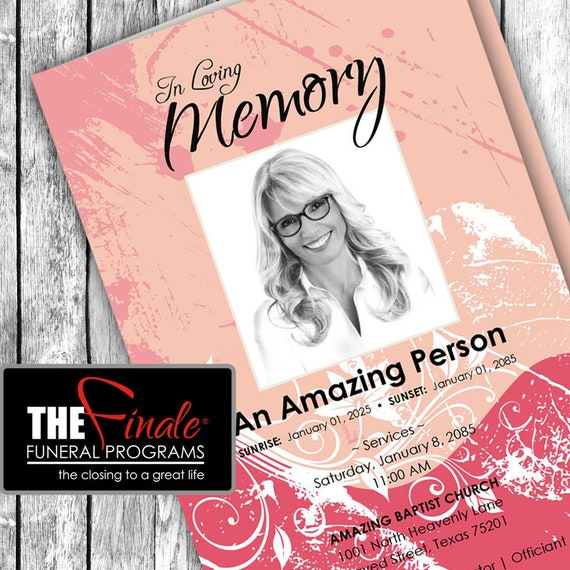 SHADES OF PINK ... (printable funeral program template) Microsoft Word Document