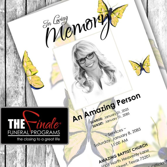 Yellow Butterfly Wings ... (printable funeral program template) Microsoft Word Template