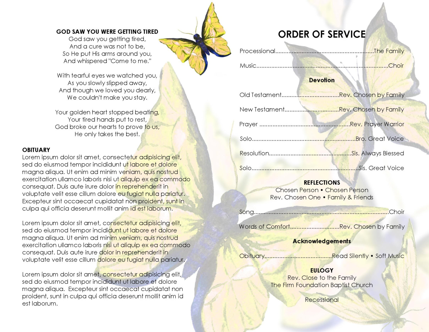 yellow butterfly wings      printable funeral program template  microsoft word template
