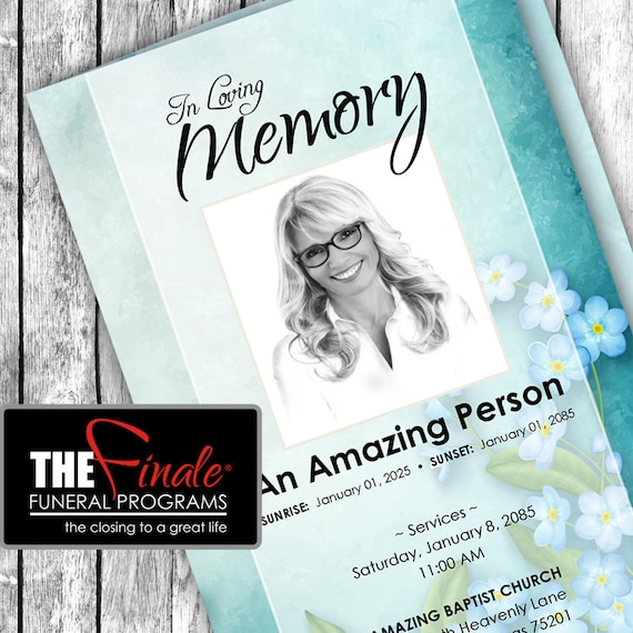 FLORAL BLUE VINTAGE ... (printable funeral program template) Microsoft Word Document
