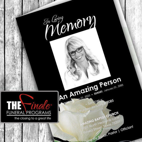 BLACK and WHITE ROSEVILLE ... (printable funeral program template) + free title font included, Microsoft Word Document