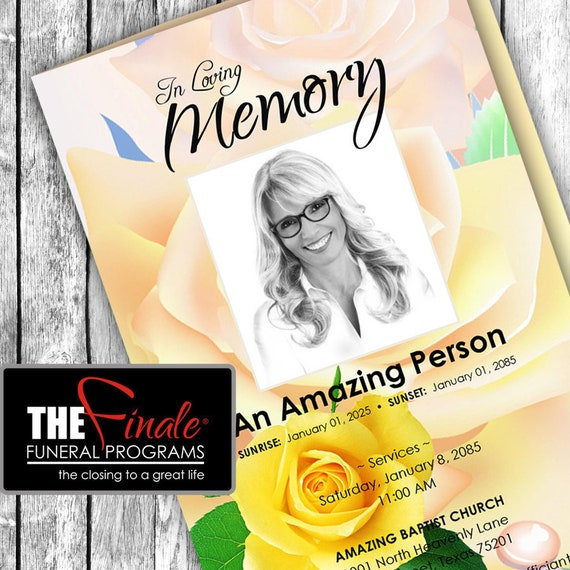 The Amazing Yellow Rose ... (printable funeral program template) Microsoft Word Document