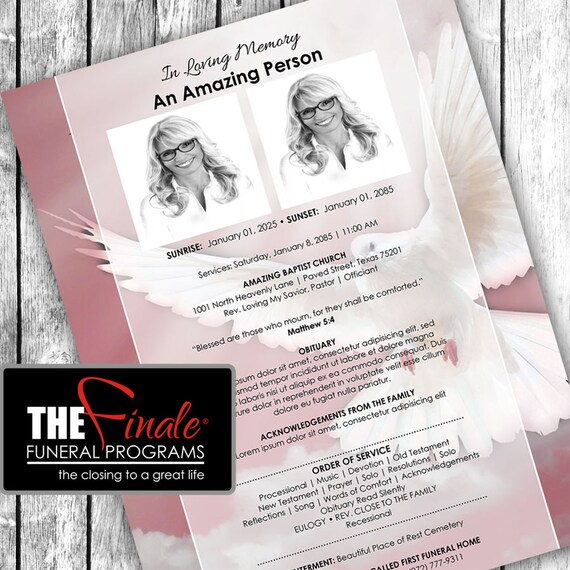 Heavenly Dove PINK ONE PAGER ... (printable funeral program template) Microsoft Word Document