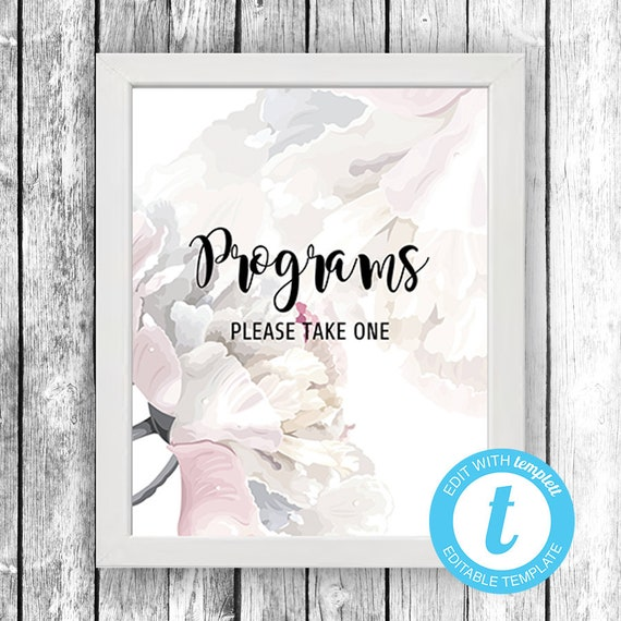 PROGRAMS Please Take One (8x10) ... (soft floral fragrance) EDIT Directly in your Browser, No Software Needed, Quick and Easy to Edit