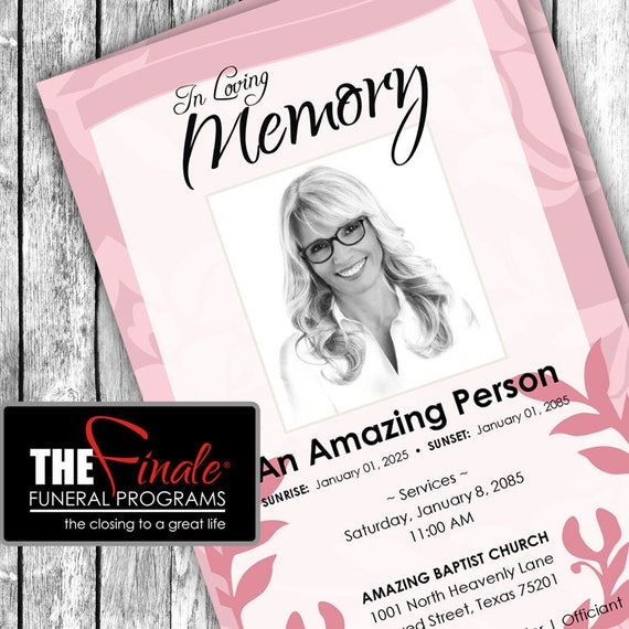 PINK IMPRESSIONS ... (printable funeral program template) Microsoft Word Template