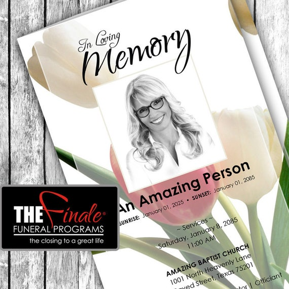 TULIPS ... (printable funeral program template) Microsoft Word Document
