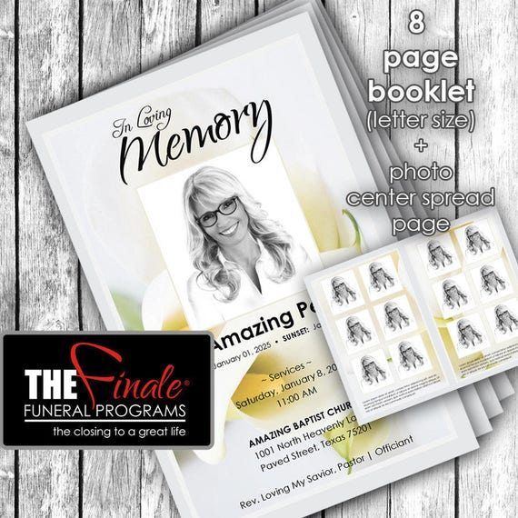 8 page Soft Floral ... (printable funeral program template) + photo center-spread page