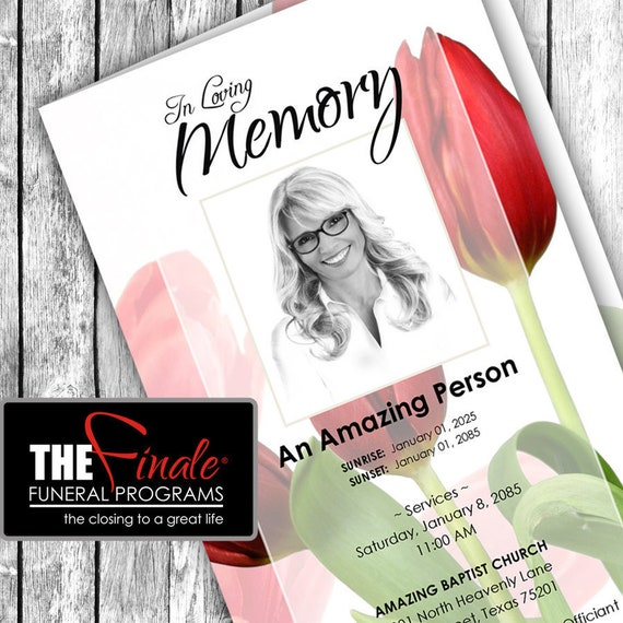 RED TULIPS in BLOOM ... (printable funeral program template) Microsoft Word Document