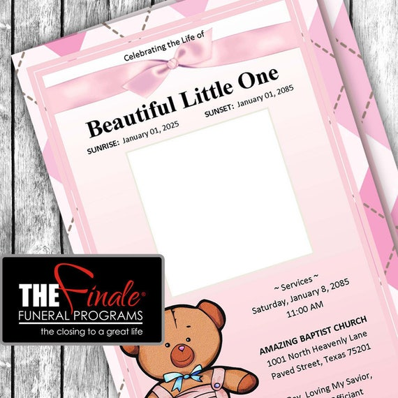 PINK BABY BEAR ... (printable funeral program template) Microsoft Word Document