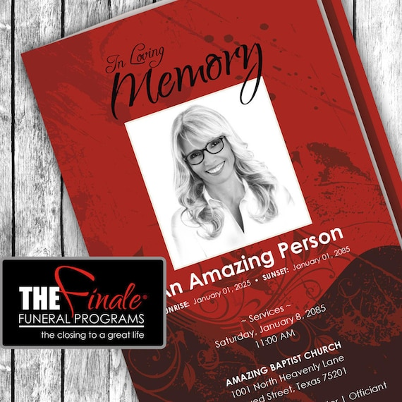 SHADES OF RED ... (printable funeral program template) Microsoft Word Template