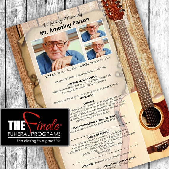 Country Music ONE PAGER ... (printable funeral program template) Microsoft Word Document