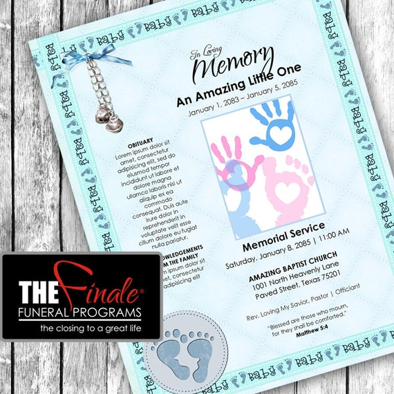 his tiny feet ONE PAGER ... (printable funeral program template) Microsoft Word Document