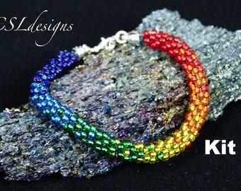 Rainbow beaded kumihimo bracelet kit
