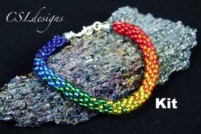 Rainbow Beaded Kumihimo Bracelet Kit Etsy