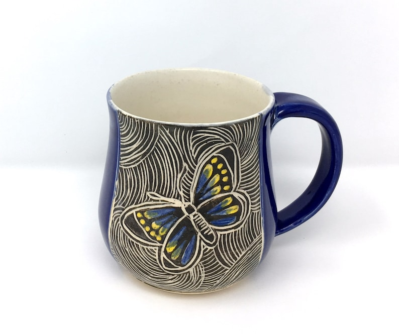 Pottery Blue GardenerB MugHandmade Gifts Mug With Ceramic Coffee 14 For ButterflyButterfly SjLpGqzVUM