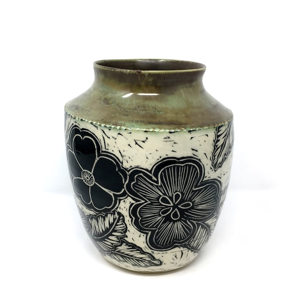 Flower Vase Carved Pottery Carved Vase Black And White Vase Etsy
