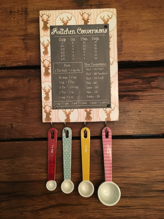 New Kitchen Conversion Chart And Measuring Spoon Set Etsy
