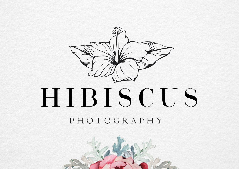 Hibiscus Logo Handdrawn Flower Premade Logo Photography Etsy