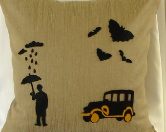 Dark Night Cushion, Dark images on a beige cushion 45 X 45cm