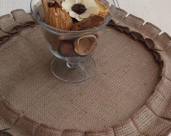 Round Burlap Placemats - Round Tablemats - Burlap Table Settings - Round Placemats - Plate Charger - Rustic Placemats - Set of 6