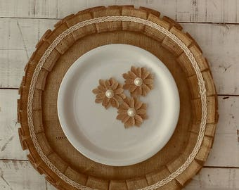 Round Burlap Placemats - Round Tablemats - Burlap Table Settings - Round Placemats - Plate Charger - Ruffled Round Placemats - Set of 6