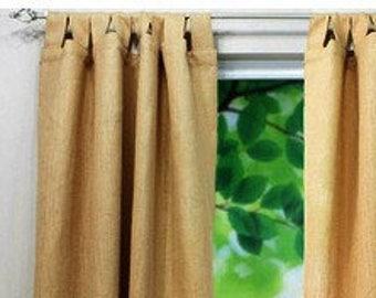 """Tab Top Burlap Curtain - Tab Top Burlap Drape -  Colored Tab Top Burlap Curtain Panel - 38"""" Wide - One Panel - Rustic - Choose Size"""