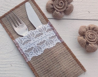 Burlap Cutlery Holder -  Burlap Silverware Sleeve - Burlap and Lace Cutlery Pocket - Wedding Table Decor - Flatware Holder - Choose Qty
