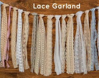 Lace Garland - Lace Bunting - Wedding Garland - Wedding Bunting - Rustic Garland - Bunting - Wedding Ceremony Backdrop - Choose Length