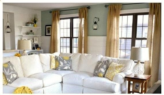 Burlap Curtain - Burlap Drapes - Lounge Curtain - Dining Room Curtain -  Burlap Curtain Panels 65\