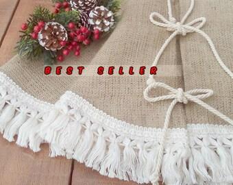 "Burlap Christmas Tree Skirt with Fringe, Holiday Decoration, Rustic Decor, 40"", 46"", Choose size, FREE SHIPPING"