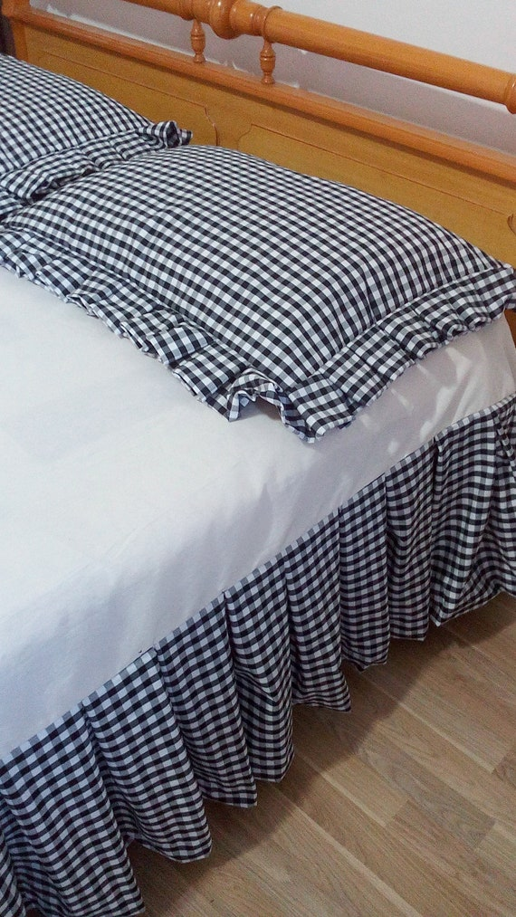 Black And White Gingham Check Bed Skirt Checked Bed Valance Etsy