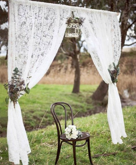 Lace Wedding Curtains, White Wedding Drapes, Wedding Decor, Alter  Decoration, Backdrop Curtains, Garden Wedding Decor, Choose Length