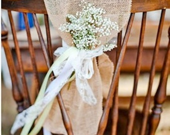 Burlap Chair Sash - Rustic Wedding Decoration - Burlap Chair Swag - Rustic Wedding Decor - Rustic Wedding - Hessian Chair Sash - Set of 12