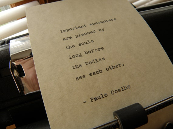 Citation De Paulo Coelho Rencontres Importantes Tapé à La Main Sur La Machine à écrire Vintage