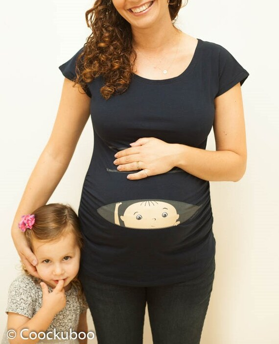 Maternity Pregnancy Funny T-shirt Top Baby Shower Peek a boo Gift Lovely Boy