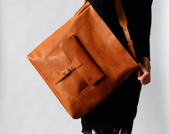 0e170728f7 FREE Fast shipping Jumbo carry-all zip tan premium Italian leather bag