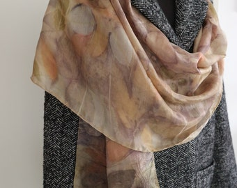 b4228e4c5bd0ca Rose Gold Scarf,Ecoprint Silk Scarf,Botanical Print,Naturally Dyed Silk  Scarf