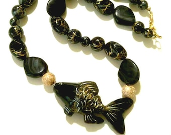Black Goldfish Necklace, Charm Necklace, Black and Gold Abstract Beads