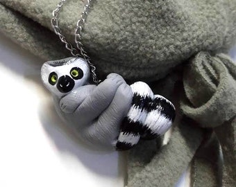 Ring-Tailed Lemur Necklace - Animal Pendant Necklace - Ploymer Clay Jewelry - Polymer Clay Necklace