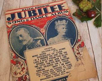 Royal Jubilee Sheet Music, King George V and Queen Mary, 1930's, Keith Prose Jubilee Song & Dance Album, Vintage Royal Memorabilia