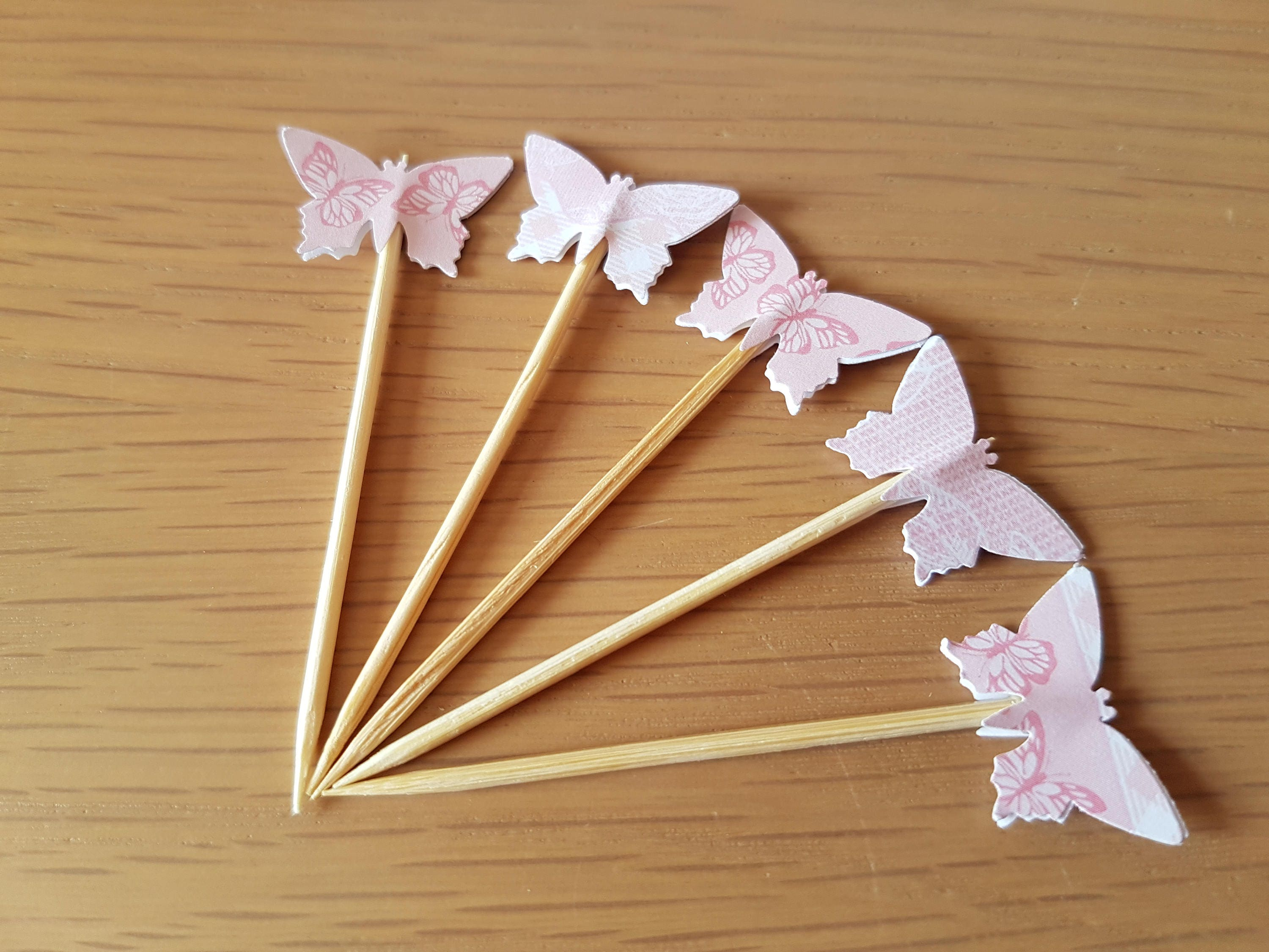 Canapé Shabby Chic 12 pink butterfly cupcake toppers cute shabby chic, canape flags, baby  shower girl, tea party, bridal shower, mothers day, cake decoration