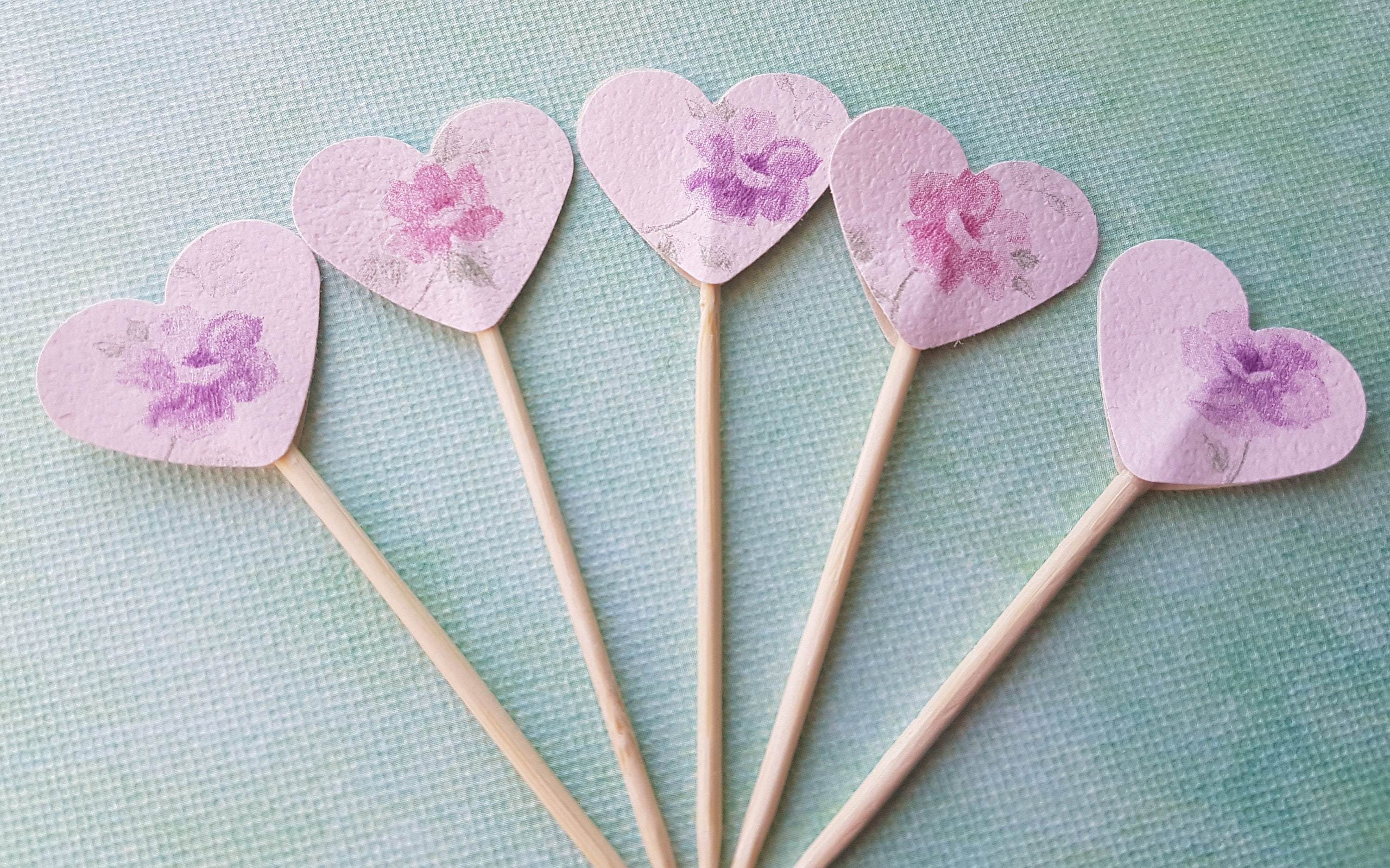 Canapé Shabby Chic 12 pink floral shabby chic heart cupcake toppers, canape flags, tea party,  bridal shower, mothers day, baby shower, cake decoration