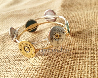 Closing Sale>> 12 Gauge Bauble Shotgun Shell Wire Wrapped Bangle Bracelet