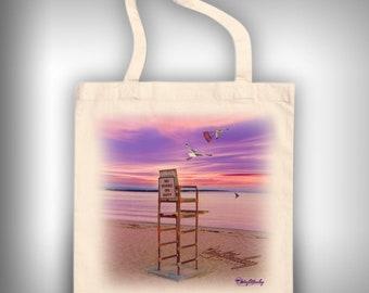 Cape Cod Life Guard Sunset Linen tote bag school bag beach bag boat bag purse market bag grocery bag craft bag