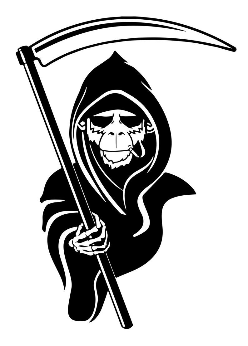 Monkey Reaper graphic Decal Outdoor Vinyl Car decal Glass Decal Window  Decal laptop personalized decals custom stickers boat decal